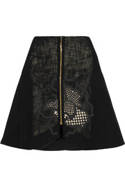 Ockwells open-weave cotton-blend mini skirt