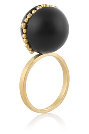 Jacqueline Cullen 18-karat gold, jet and diamond ring