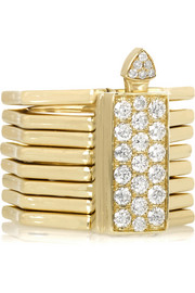 Octagon convertible 14-karat gold diamond ring