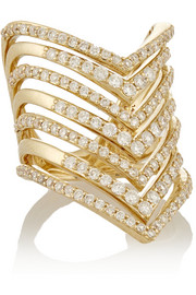 Chevron 14-karat gold diamond phalanx ring