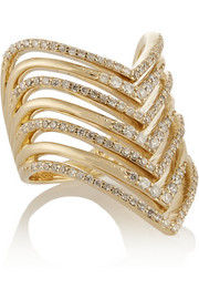Chevron 14-karat gold diamond ring