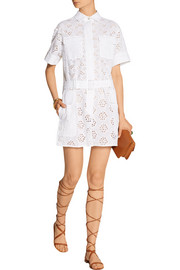 Broderie anglaise cotton-blend playsuit