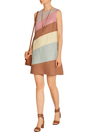 Paneled linen mini dress