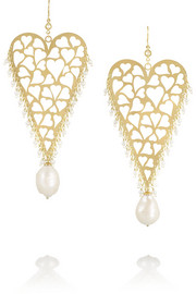 18-karat gold, sapphire and pearl earrings