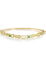 Love You Baby 18-karat gold, diamond and emerald bracelet