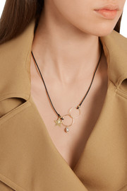 Leather, 18-karat gold and pearl necklace