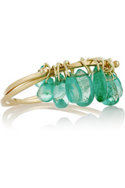 18-karat gold emerald interlinked rings
