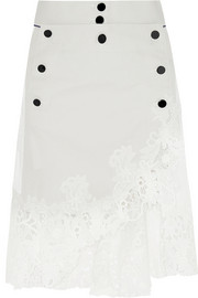 Guipure lace-trimmed cotton and silk-blend skirt