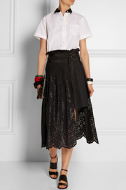 Laser-cut cotton-shell wrap skirt