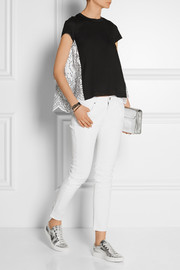 Paneled linen-blend jersey and broderie anglaise top