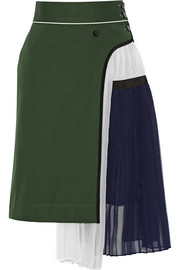 Pleated cotton and silk-blend twill and chiffon skirt