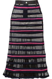 Striped mesh and grosgrain maxi skirt