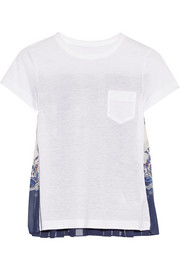 Printed chiffon-paneled linen-blend T-shirt