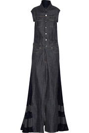 Velvet-paneled denim maxi dress