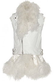 Layered shearling-trimmed leather gilet