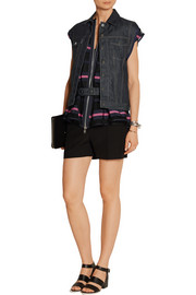 Layered grosgrain-trimmed mesh and denim vest