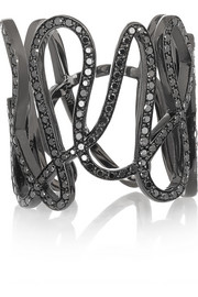 White Noise 18-karat black gold-washed diamond ring