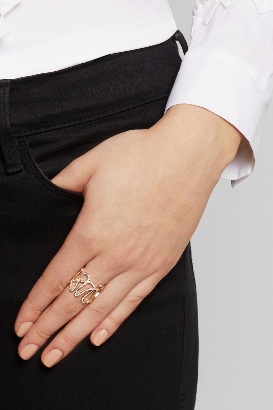 White Noise 18-karat rose gold diamond ring