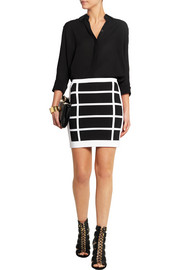 Checked stretch-knit mini skirt