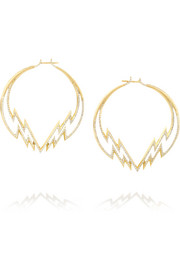 Electra 18-karat gold diamond hoop earrings