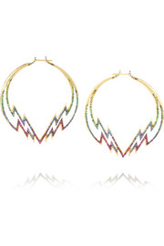 Electra 18-karat gold multi-stone hoop earrings