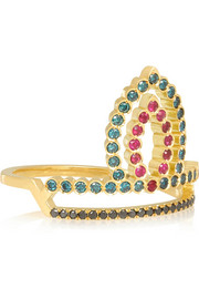 Wonderland Etta 18-karat gold, diamond and ruby ring
