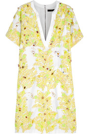 J.Crew Sparrow embellished linen and cotton-blend dress