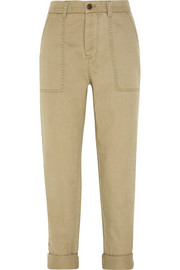 Utility cotton-twill tapered pants
