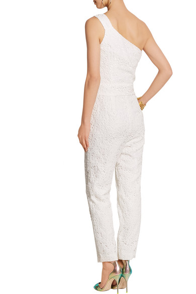 c87a60d8e69b J.Crew. Nia Bridal one-shoulder floral-lace jumpsuit.  140. Play. Zoom In