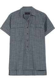 Striped cotton-chambray shirt