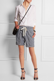 Striped cotton-chambray shorts