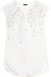J.Crew Collection Khalo embellished cotton-poplin top