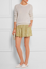 Sequined cotton-gauze shorts