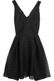 Mesh-striped jersey dress