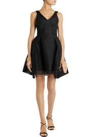 Maje Mesh-striped jersey dress
