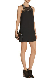 Maje Royaume mesh-paneled crepe mini dress