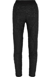 Cotton-blend jacquard skinny pants