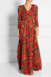 Studded floral-print silk-georgette maxi dress