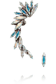 Ryan Storer Oxidized silver-plated Swarovski crystal earrings