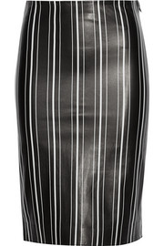 Striped leather pencil skirt