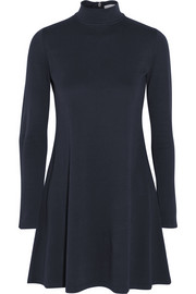Mock stretch-cotton turtleneck mini dress