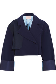 Exley mesh-trimmed stretch-crepe jacket