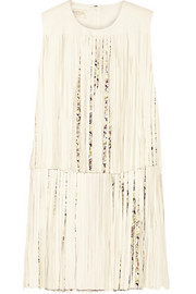 Fringed leather and crepe mini dress