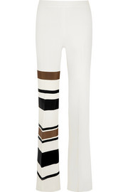 Grosgrain-appliquéd crepe flared pants