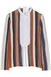 Striped cotton poplin-paneled silk-crepe shirt