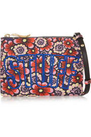 House of Holland Stuff embroidered printed leather shoulder bag