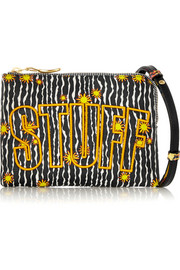 Stuff embroidered printed leather shoulder bag