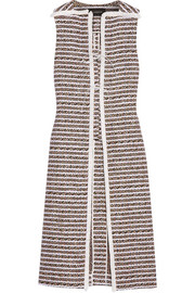 Fringed cotton-blend tweed vest