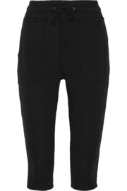 Cropped Supima cotton-terry track pants
