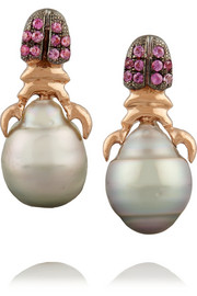 Daniela Villegas 18-karat rose gold, sapphire and pearl earrings